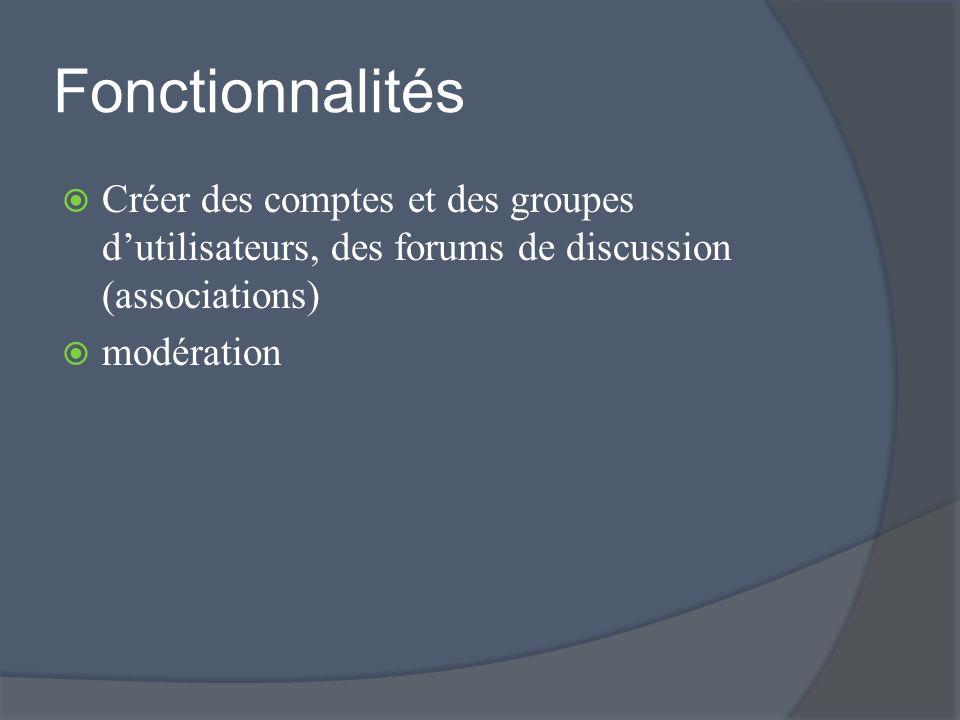 Fonctionnalités Créer des comptes et des groupes dutilisateurs, des forums de discussion (associations) modération