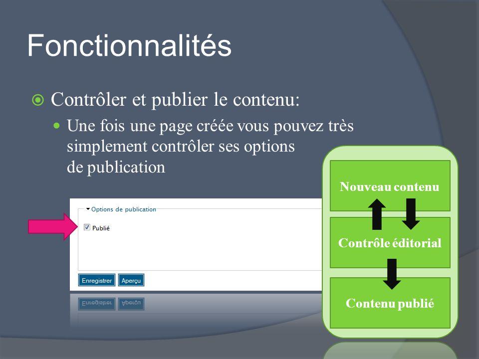 Fonctionnalités Contrôler et publier le contenu: Une fois une page créée vous pouvez très simplement contrôler ses options de publication Nouveau contenu Contrôle éditorial Contenu publié