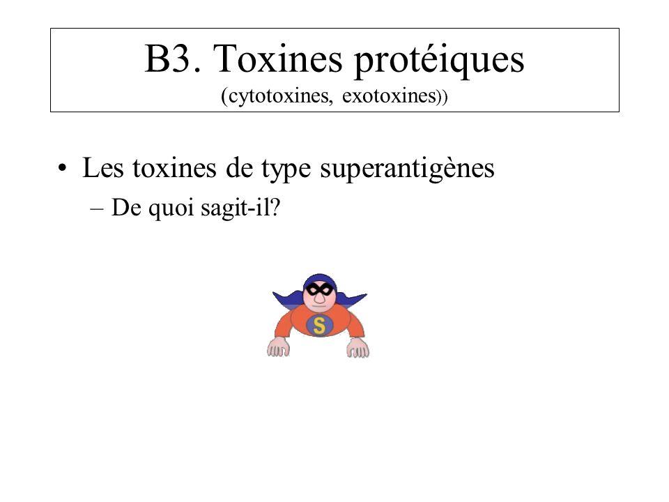 B3. Toxines protéiques (cytotoxines, exotoxines )) Les toxines de type superantigènes –De quoi sagit-il?