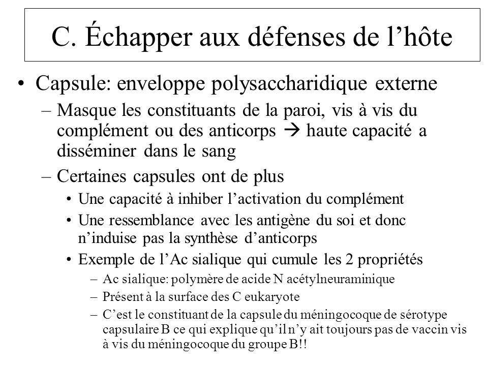C. Échapper aux défenses de lhôte Capsule: enveloppe polysaccharidique externe –Masque les constituants de la paroi, vis à vis du complément ou des an