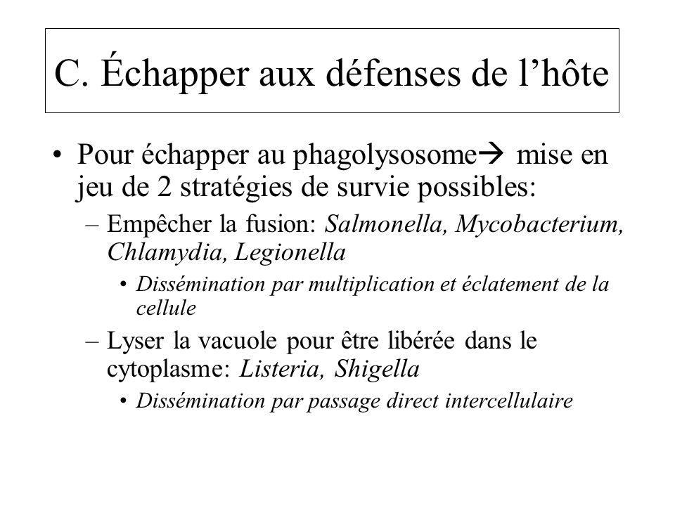 C. Échapper aux défenses de lhôte Pour échapper au phagolysosome mise en jeu de 2 stratégies de survie possibles: –Empêcher la fusion: Salmonella, Myc