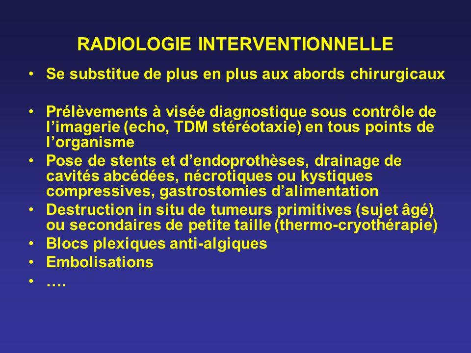 RADIOLOGIE INTERVENTIONNELLE Se substitue de plus en plus aux abords chirurgicaux Prélèvements à visée diagnostique sous contrôle de limagerie (echo,