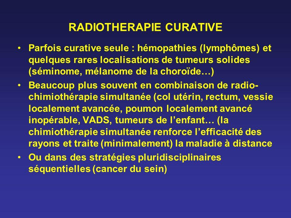 RADIOTHERAPIE CURATIVE Parfois curative seule : hémopathies (lymphômes) et quelques rares localisations de tumeurs solides (séminome, mélanome de la c