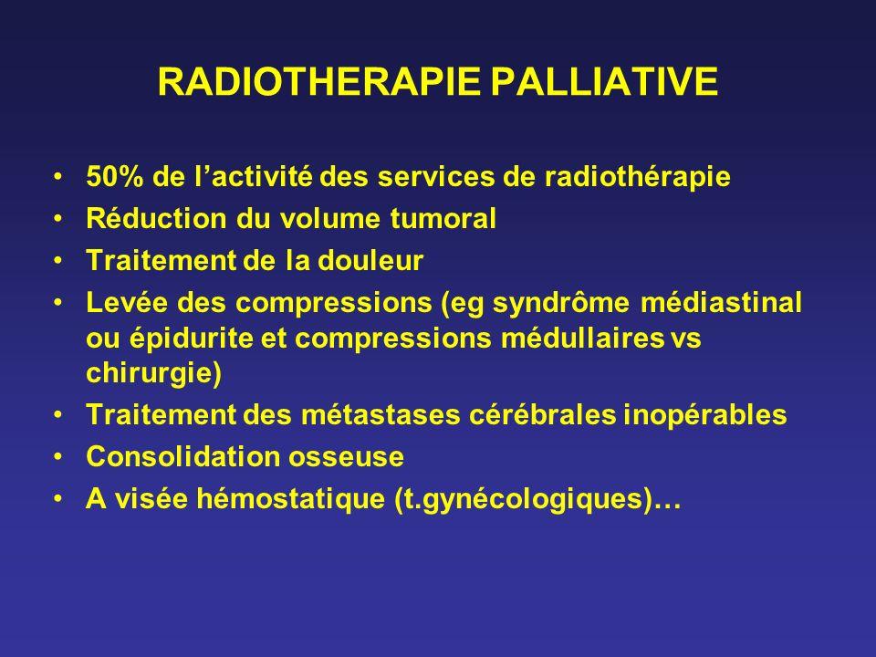 RADIOTHERAPIE PALLIATIVE 50% de lactivité des services de radiothérapie Réduction du volume tumoral Traitement de la douleur Levée des compressions (e
