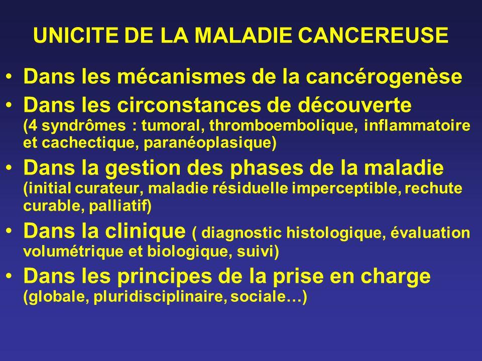 UNICITE DE LA MALADIE CANCEREUSE Dans les mécanismes de la cancérogenèse Dans les circonstances de découverte (4 syndrômes : tumoral, thromboembolique