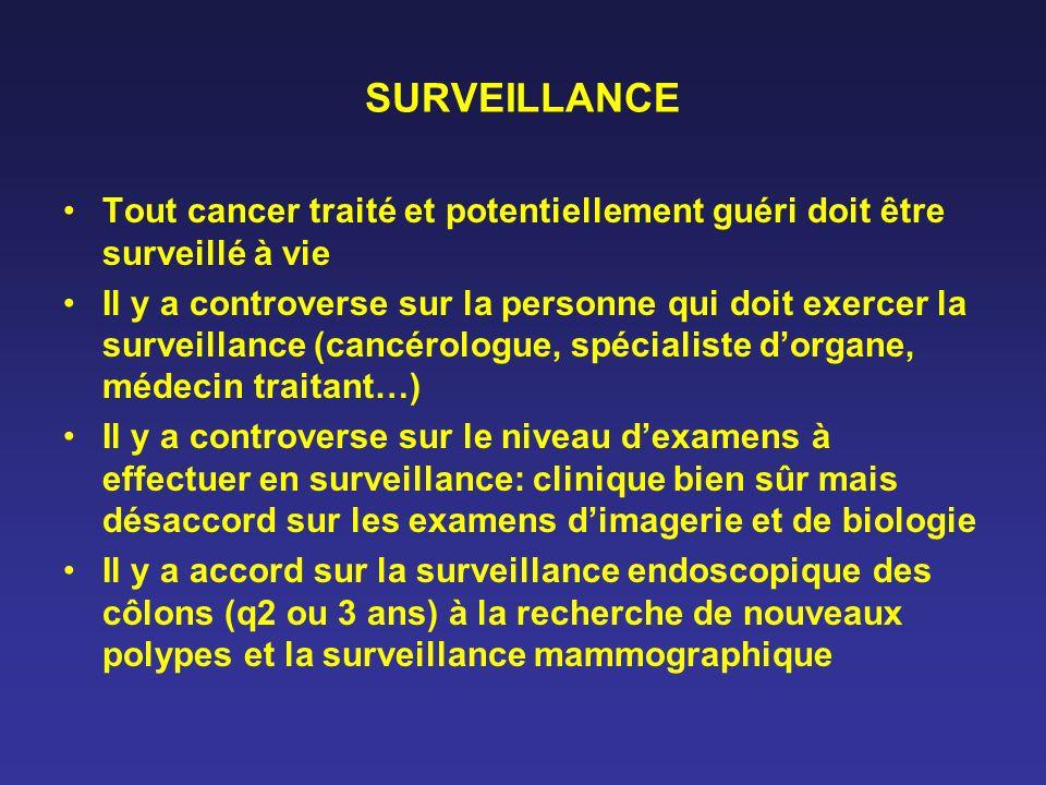 SURVEILLANCE Tout cancer traité et potentiellement guéri doit être surveillé à vie Il y a controverse sur la personne qui doit exercer la surveillance
