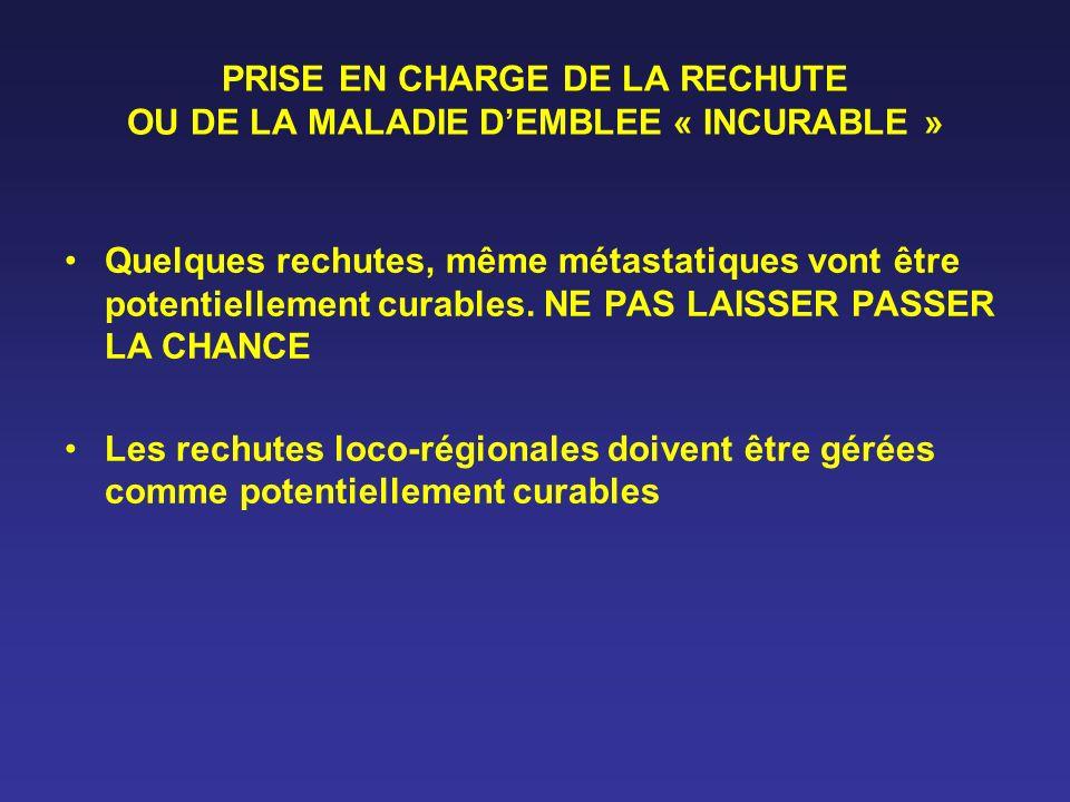 PRISE EN CHARGE DE LA RECHUTE OU DE LA MALADIE DEMBLEE « INCURABLE » Quelques rechutes, même métastatiques vont être potentiellement curables. NE PAS