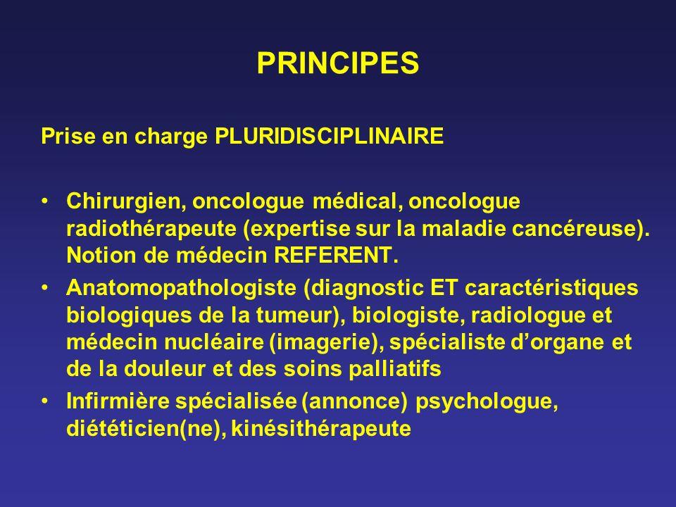 PRINCIPES Prise en charge PLURIDISCIPLINAIRE Chirurgien, oncologue médical, oncologue radiothérapeute (expertise sur la maladie cancéreuse). Notion de