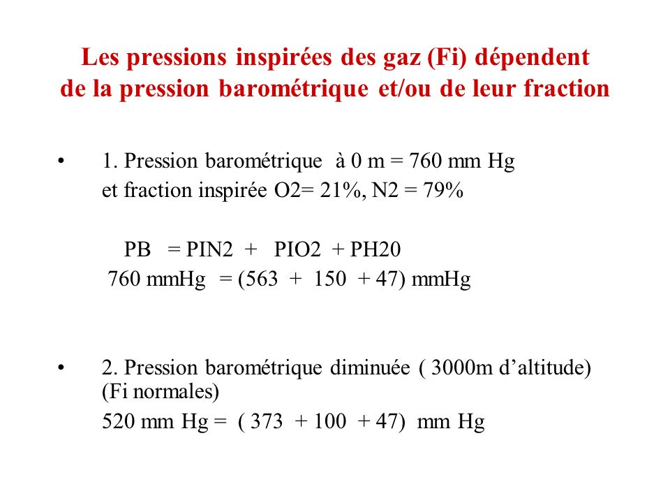 VOYAGES EN AVION Pressurisation cabine à 600 mmHg = 75 KPa = 2200 m Hypoxie généralement non ressentie mais : SaO2 à 93% après 2 h - prothrombine++ Tachycardie et tachypnée rarement mal aigu des montagnes Expansion des gaz clos : Equilibration des pressions tympaniques Gaz intestinal se dilate mais est résorbé Gaz dans les sinus se résorbe Air de la cabine est sec Hydratation+ (verres de contact)