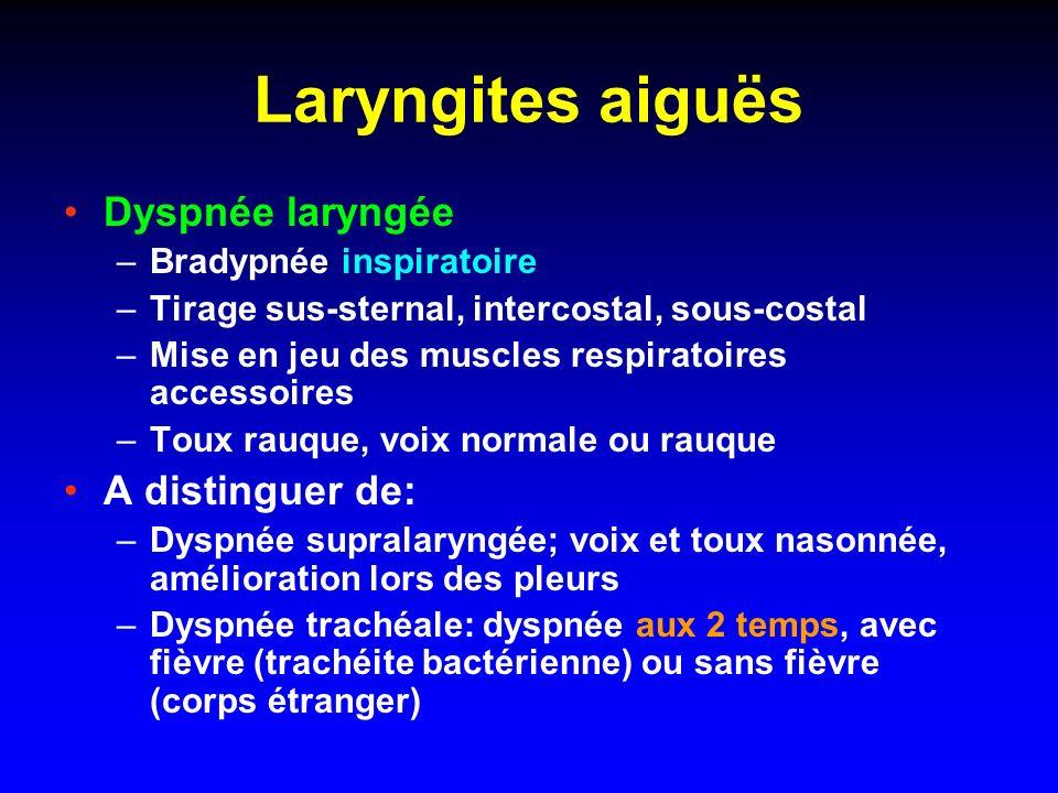Examens complémentaires uniquement en cas de détresse respiratoire ou de sepsis Rx Thorax face (distension & EPBV – atélectasie LSD) NFS (+/- réticulocytes) CRP/PCT VRS sur sécrétions nasopharyngées par immunofluorescence (dirige lhospitalisation…)