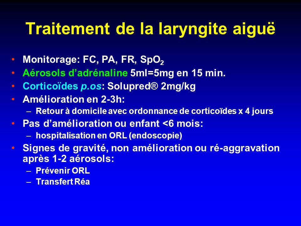 Critères dadmission en Réanimation Fatigue respiratoire ++ (apnées >20 s) Cyanose (SpO 2 <88-90% sous oxygène nasal) Vigilance altérée Acidose respiratoire (pH 50-60 Torr) => CPAP/VNI >> VM-PEP après intubation