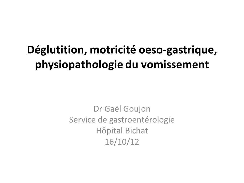 Déglutition, motricité oeso-gastrique, physiopathologie du vomissement Dr Gaël Goujon Service de gastroentérologie Hôpital Bichat 16/10/12
