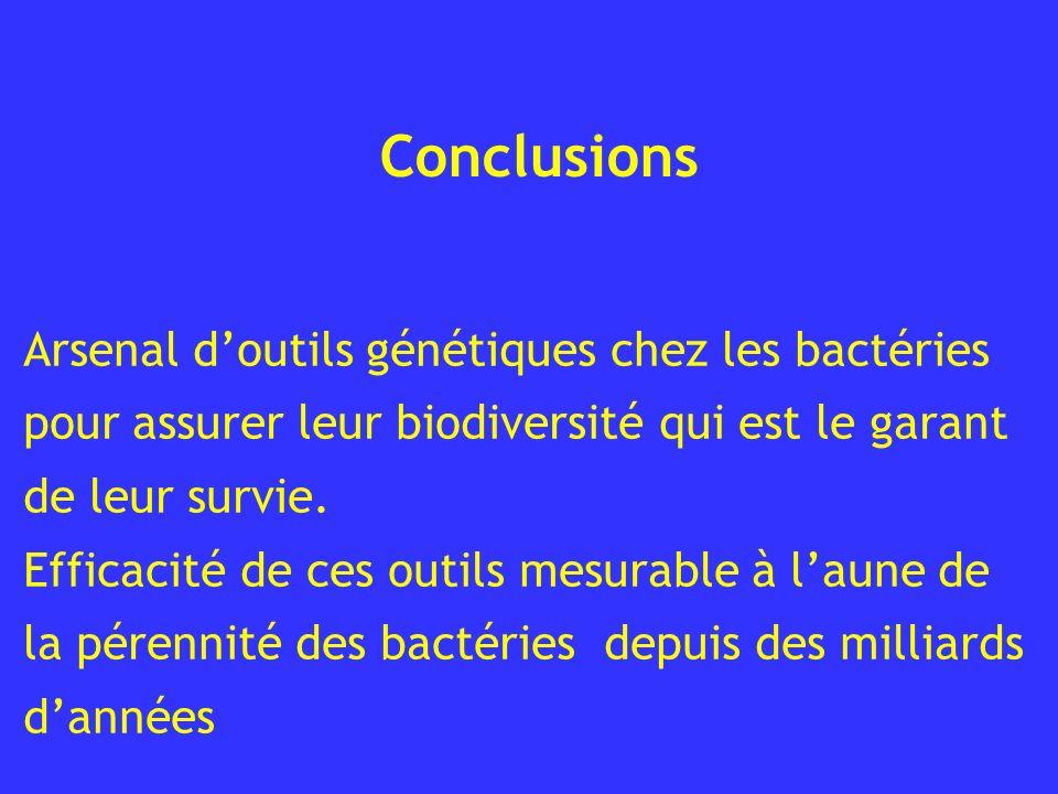 Conclusions Arsenal doutils génétiques chez les bactéries pour assurer leur biodiversité qui est le garant de leur survie. Efficacité de ces outils me