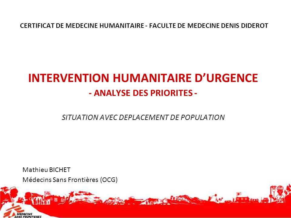 CERTIFICAT DE MEDECINE HUMANITAIRE - FACULTE DE MEDECINE DENIS DIDEROT INTERVENTION HUMANITAIRE DURGENCE - ANALYSE DES PRIORITES - SITUATION AVEC DEPL