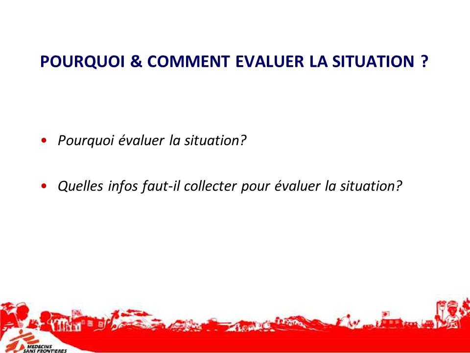 POURQUOI & COMMENT EVALUER LA SITUATION ? Pourquoi évaluer la situation? Quelles infos faut-il collecter pour évaluer la situation?
