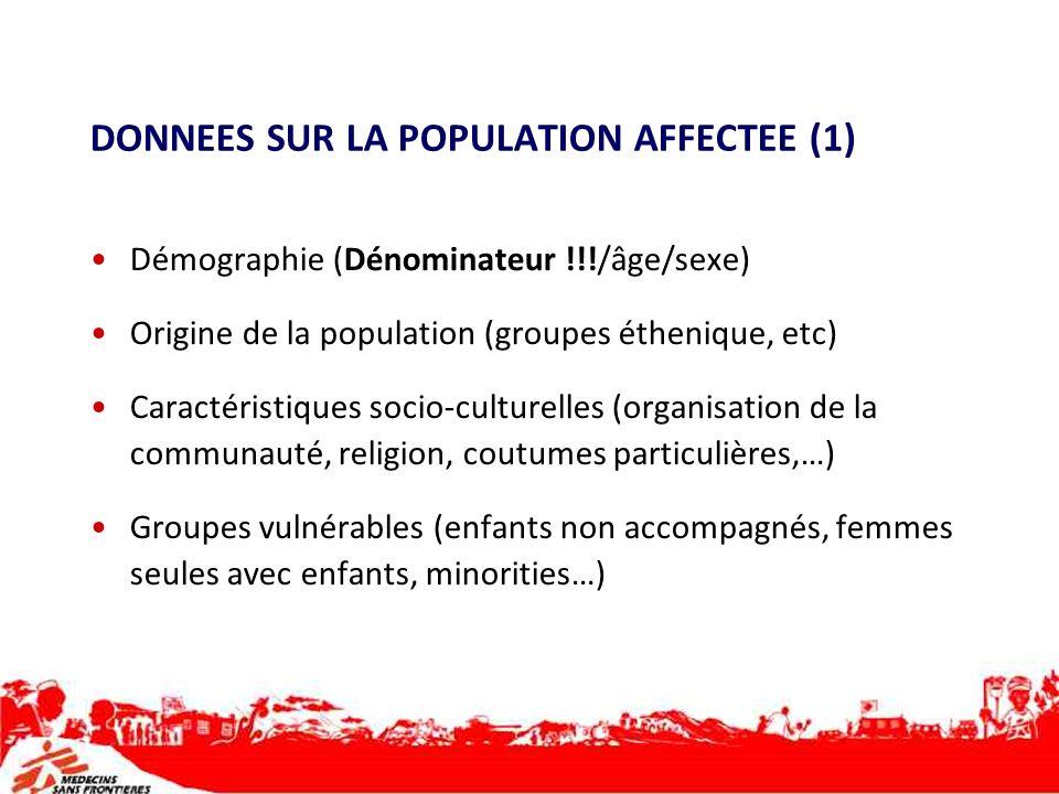 DONNEES SUR LA POPULATION AFFECTEE (1) Démographie (Dénominateur !!!/âge/sexe) Origine de la population (groupes éthenique, etc) Caractéristiques soci