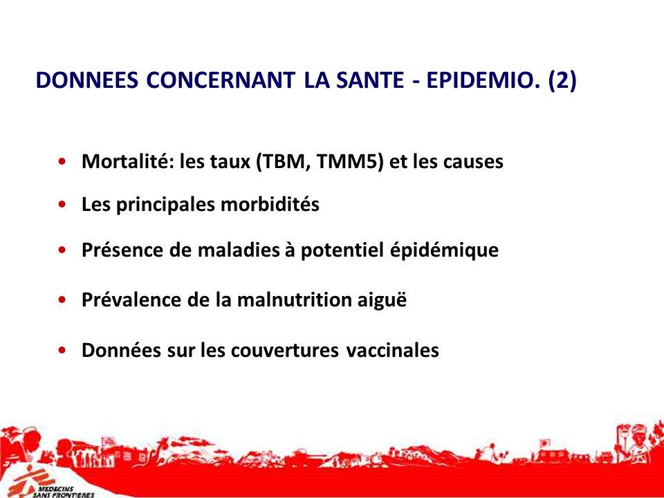 DONNEES CONCERNANT LA SANTE - EPIDEMIO. (2) Mortalité: les taux (TBM, TMM5) et les causes Les principales morbidités Présence de maladies à potentiel
