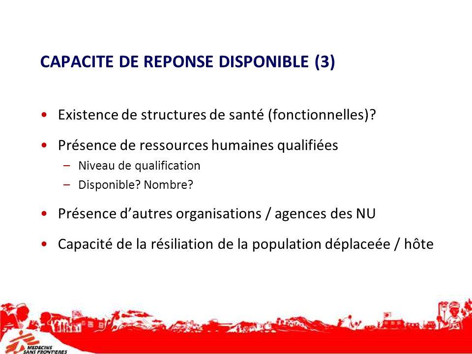 CAPACITE DE REPONSE DISPONIBLE (3) Existence de structures de santé (fonctionnelles)? Présence de ressources humaines qualifiées –Niveau de qualificat