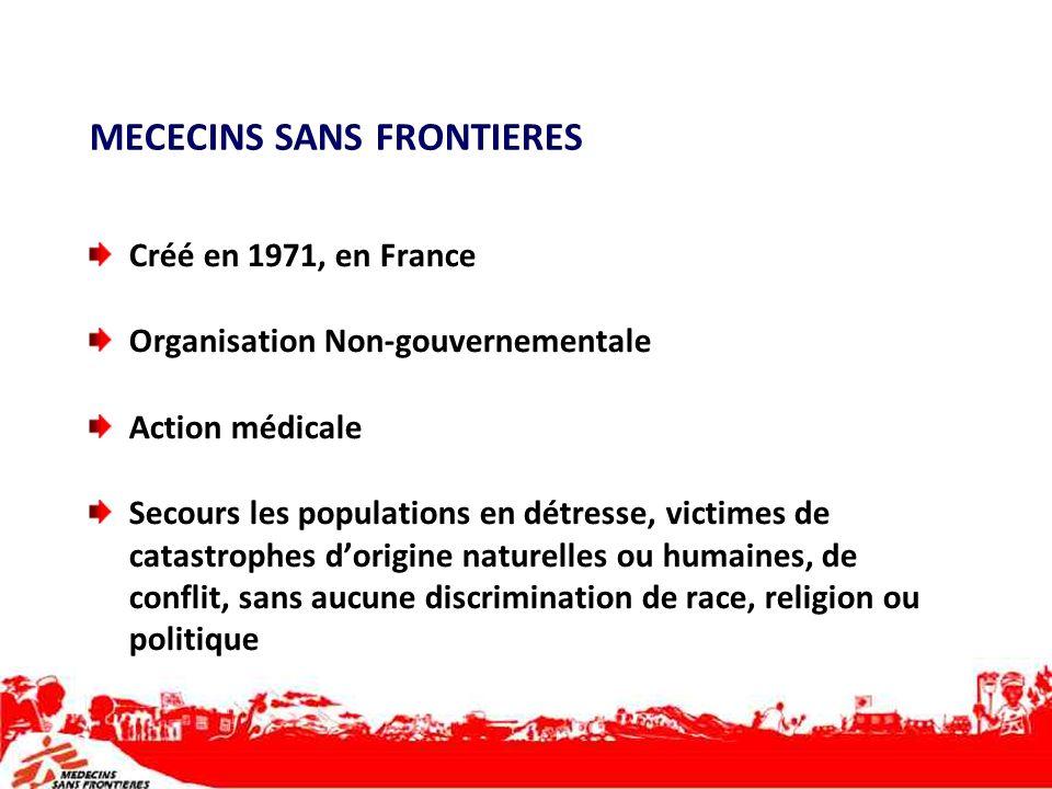 MECECINS SANS FRONTIERES Créé en 1971, en France Organisation Non-gouvernementale Action médicale Secours les populations en détresse, victimes de cat