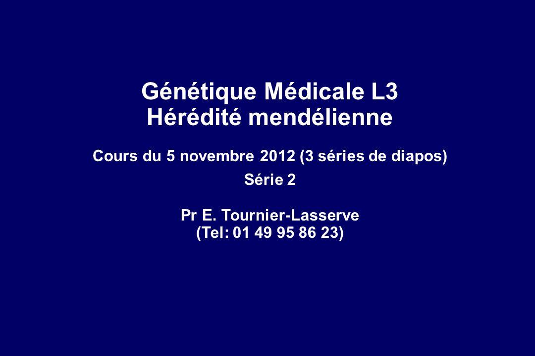 Génétique Médicale L3 Hérédité mendélienne Cours du 5 novembre 2012 (3 séries de diapos) Série 2 Pr E.
