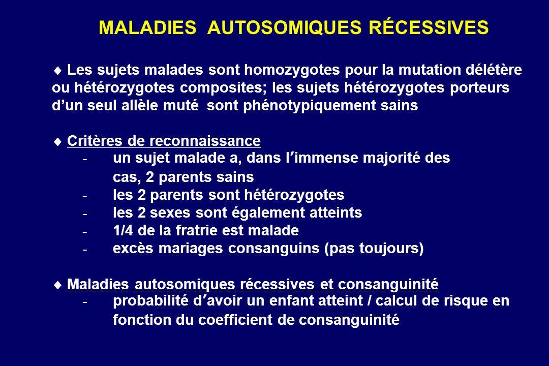 Les sujets malades sont homozygotes pour la mutation délétère ou hétérozygotes composites; les sujets hétérozygotes porteurs dun seul allèle muté sont phénotypiquement sains Critères de reconnaissance - un sujet malade a, dans limmense majorité des cas, 2 parents sains - les 2 parents sont hétérozygotes - les 2 sexes sont également atteints - 1/4 de la fratrie est malade - excès mariages consanguins (pas toujours) Maladies autosomiques récessives et consanguinité - probabilité davoir un enfant atteint / calcul de risque en fonction du coefficient de consanguinité MALADIES AUTOSOMIQUES RÉCESSIVES