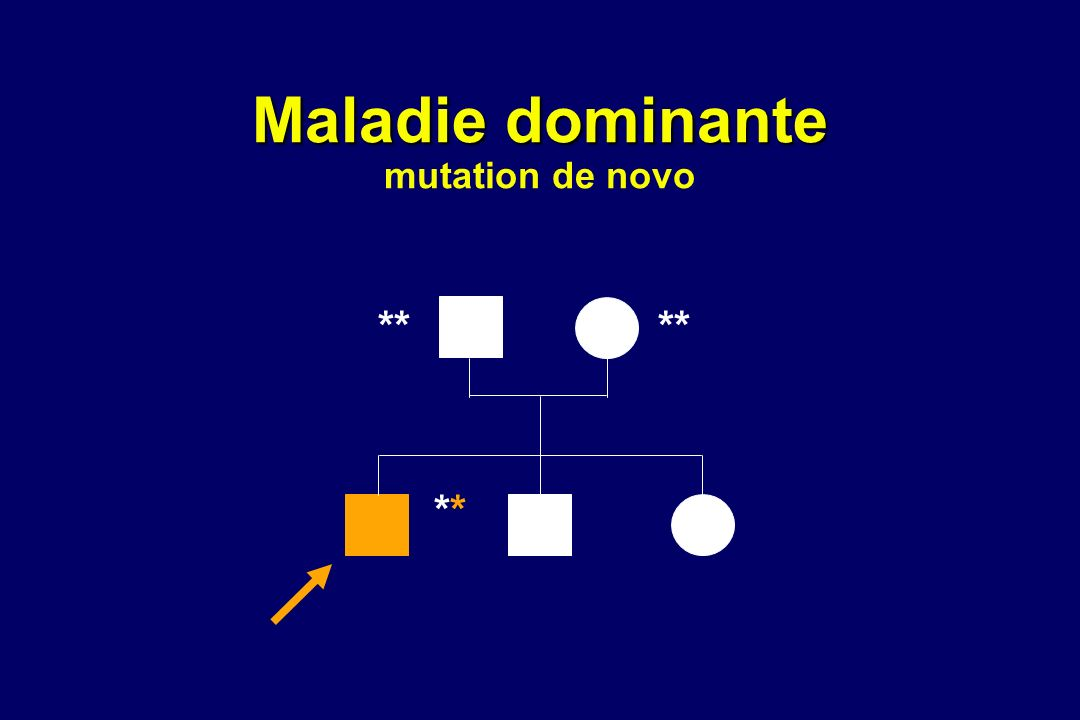 Maladie dominante Maladie dominante mutation de novo ** ****