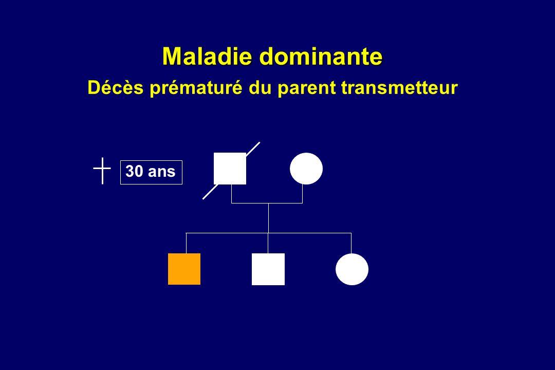 Maladie dominante Maladie dominante Décès prématuré du parent transmetteur 30 ans