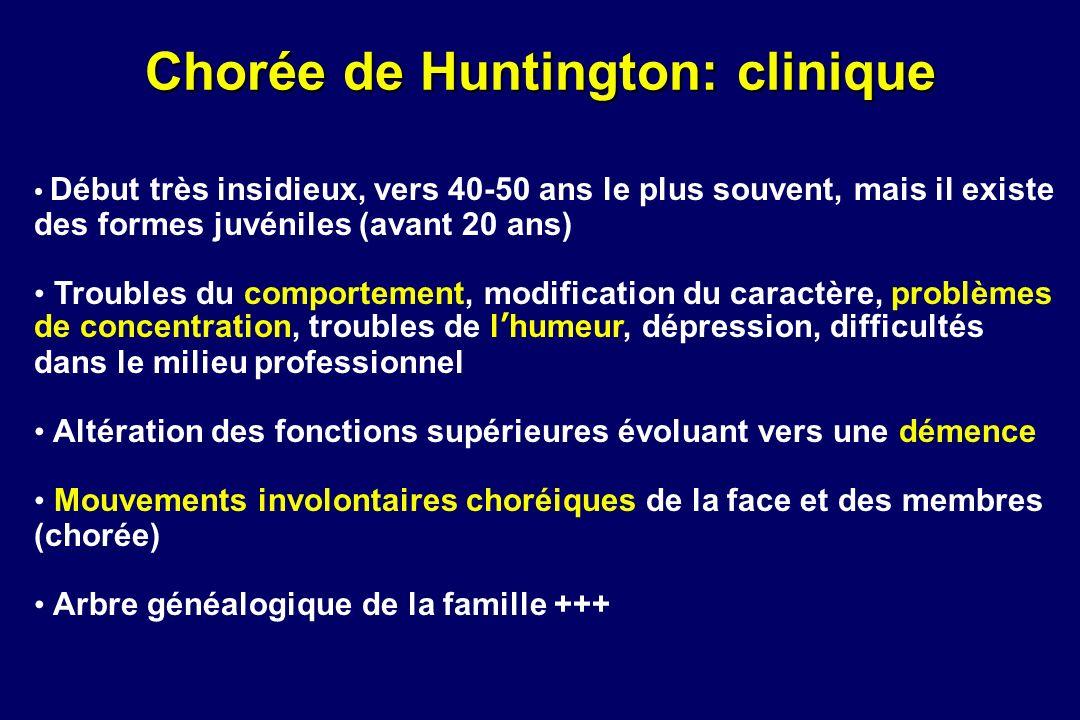 Chorée de Huntington: clinique Début très insidieux, vers 40-50 ans le plus souvent, mais il existe des formes juvéniles (avant 20 ans) Troubles du co