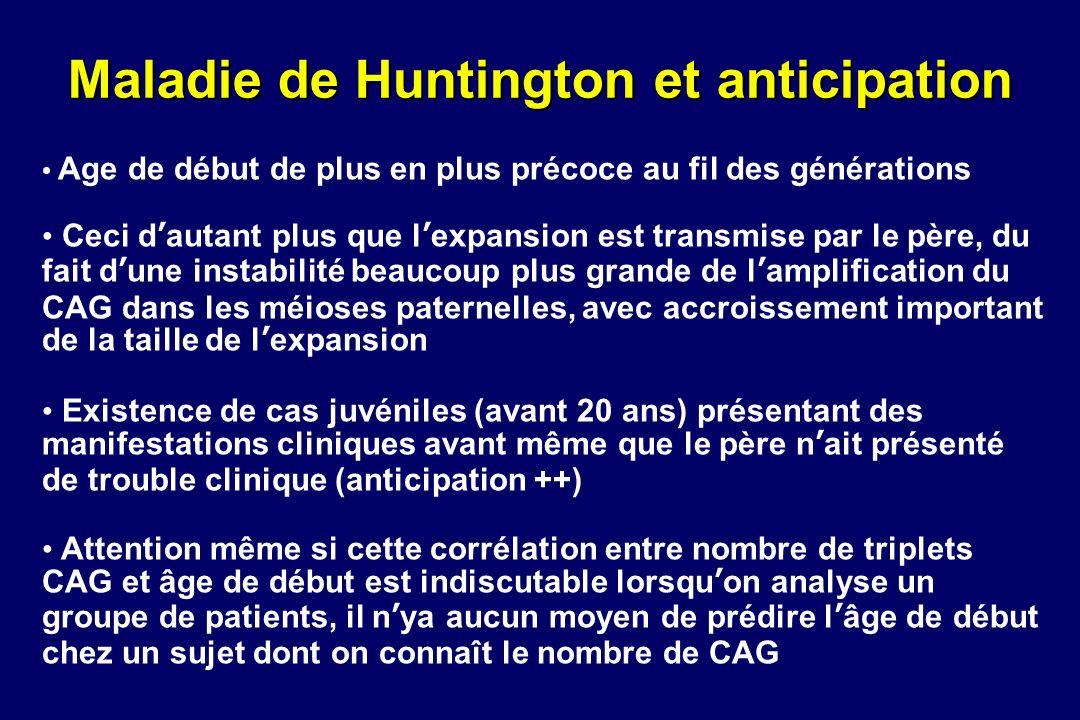 Maladie de Huntington et anticipation Age de début de plus en plus précoce au fil des générations Ceci dautant plus que lexpansion est transmise par l