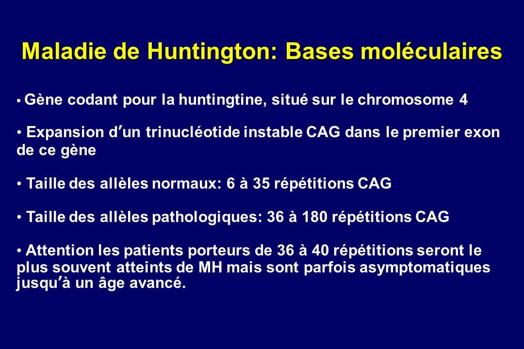 Maladie de Huntington: Bases moléculaires Gène codant pour la huntingtine, situé sur le chromosome 4 Expansion dun trinucléotide instable CAG dans le