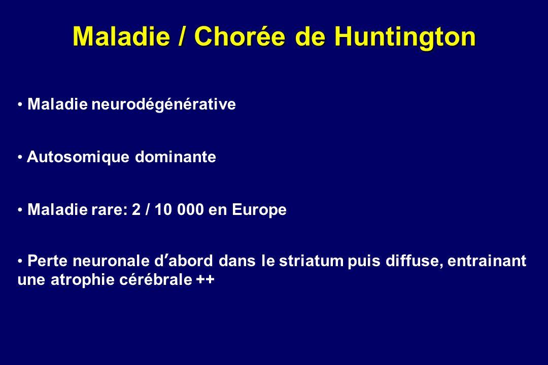 Maladie / Chorée de Huntington Maladie neurodégénérative Autosomique dominante Maladie rare: 2 / 10 000 en Europe Perte neuronale dabord dans le stria
