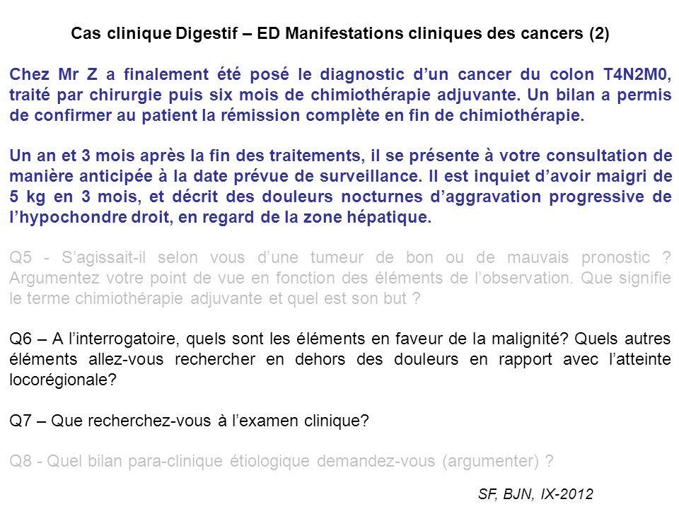 Cas clinique Digestif – ED Manifestations cliniques des cancers (2) Chez Mr Z a finalement été posé le diagnostic dun cancer du colon T4N2M0, traité p