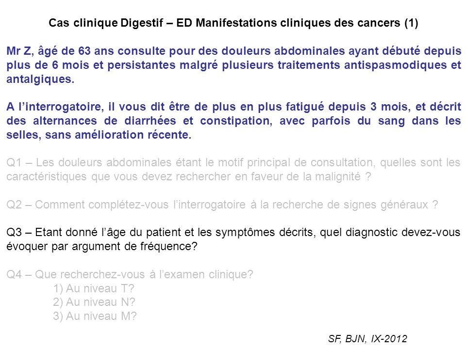 Cas clinique Digestif – ED Manifestations cliniques des cancers (1) Mr Z, âgé de 63 ans consulte pour des douleurs abdominales ayant débuté depuis plu