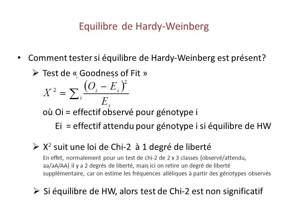 Comment tester si équilibre de Hardy-Weinberg est présent? Equilibre de Hardy-Weinberg Test de « Goodness of Fit » où Oi = effectif observé pour génot