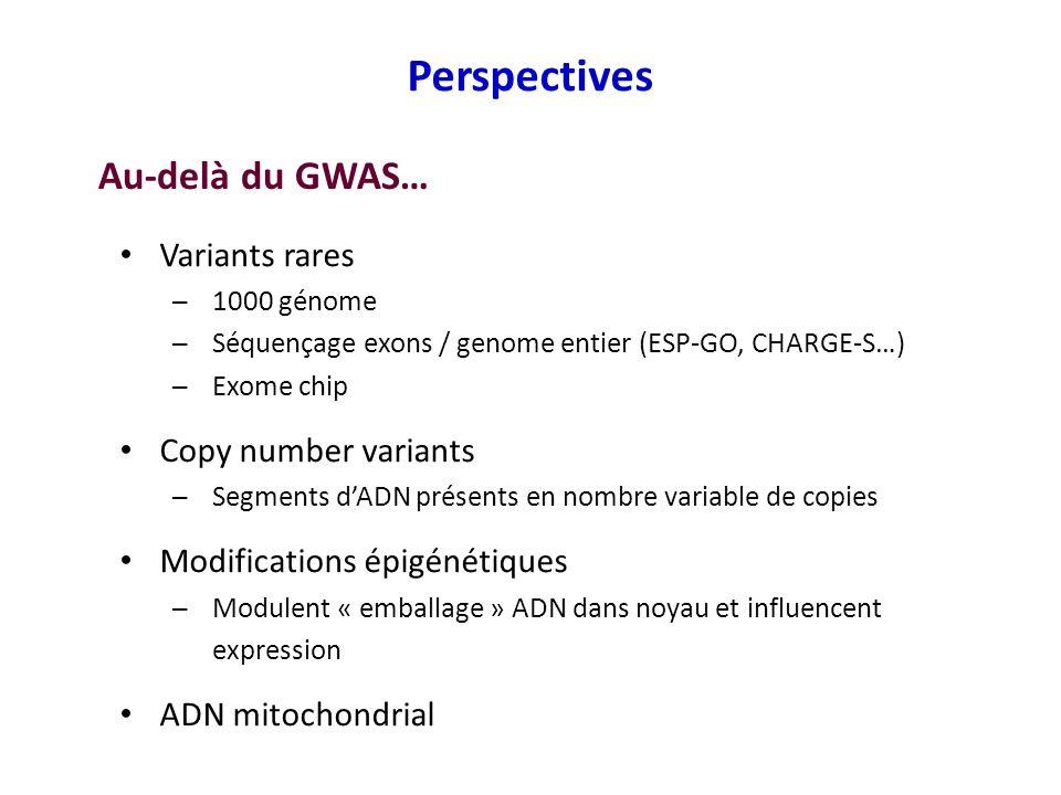 Variants rares 1000 génome Séquençage exons / genome entier (ESP-GO, CHARGE-S…) Exome chip Copy number variants Segments dADN présents en nombre varia