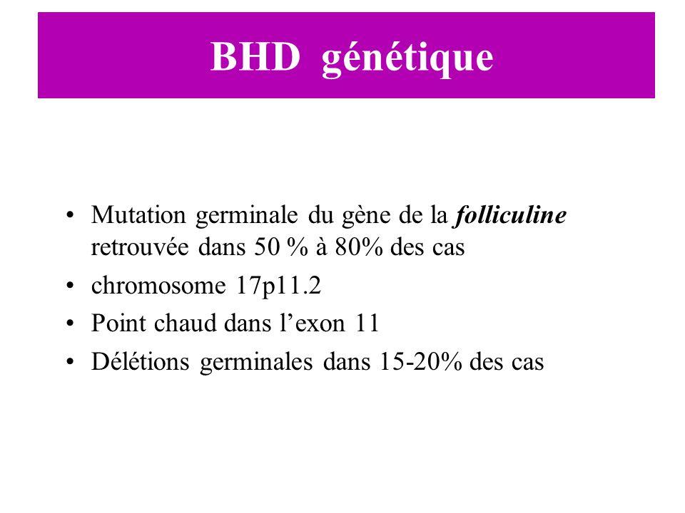 BHD génétique Mutation germinale du gène de la folliculine retrouvée dans 50 % à 80% des cas chromosome 17p11.2 Point chaud dans lexon 11 Délétions ge
