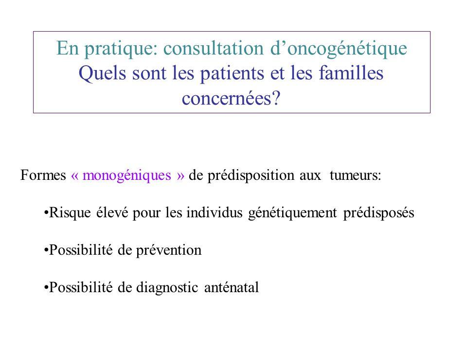 En pratique: consultation doncogénétique Quels sont les patients et les familles concernées? Formes « monogéniques » de prédisposition aux tumeurs: Ri