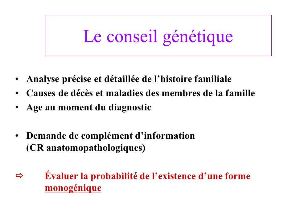 Conseil génétique (2) - Confirmer le diagnostic (Formes syndromiques) - Organiser le conseil génétique * Test moléculaire : cas index * Diagnostic présymptomatique : apparentés (Mélanome familial, Syndrome de Birt Hogg Dube) * Diagnostic anténatal : si morbidité importante (Xeroderma pigmentosum) - Mesures de prévention