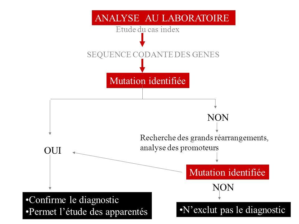ANALYSE AU LABORATOIRE SEQUENCE CODANTE DES GENES Mutation identifiée OUI NON Mutation identifiée Recherche des grands réarrangements, analyse des pro