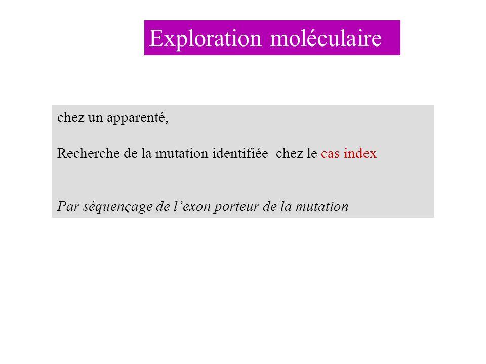 chez un apparenté, Recherche de la mutation identifiée chez le cas index Par séquençage de lexon porteur de la mutation Exploration moléculaire