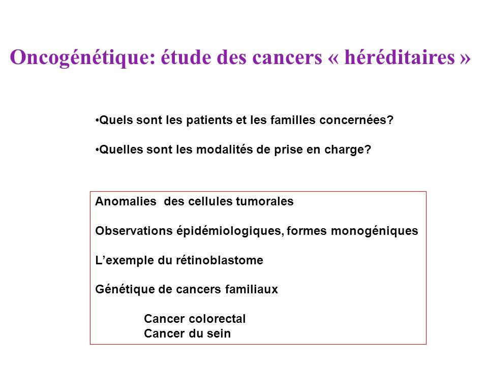 Oncogénétique: étude des cancers « héréditaires » Quels sont les patients et les familles concernées? Quelles sont les modalités de prise en charge? A