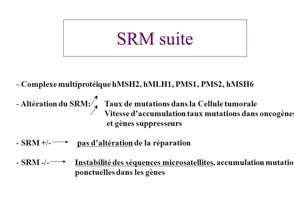 SRM suite - Complexe multiprotéique hMSH2, hMLH1, PMS1, PMS2, hMSH6 - Altération du SRM: Taux de mutations dans la Cellule tumorale Vitesse daccumulat
