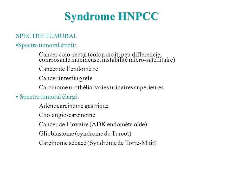 Syndrome HNPCC SPECTRE TUMORAL Spectre tumoral étroit: Cancer colo-rectal (colon droit, peu différencié, composante mucineuse, instabilité micro-satel
