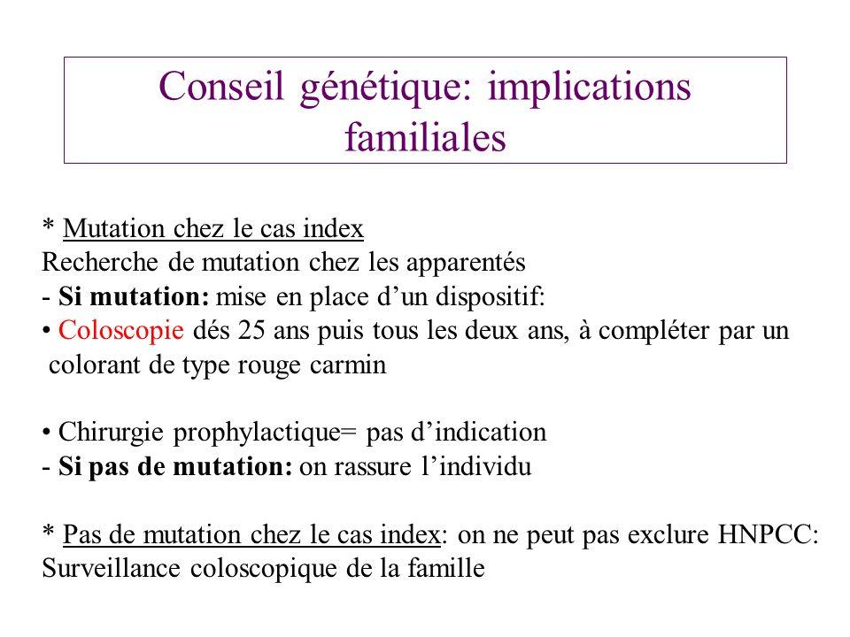 Conseil génétique: implications familiales * Mutation chez le cas index Recherche de mutation chez les apparentés - Si mutation: mise en place dun dis