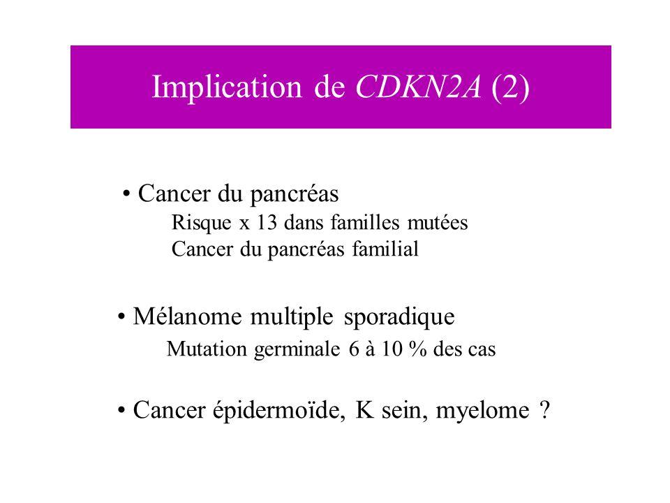 Implication de CDKN2A (2) Cancer du pancréas Risque x 13 dans familles mutées Cancer du pancréas familial Mélanome multiple sporadique Mutation germin
