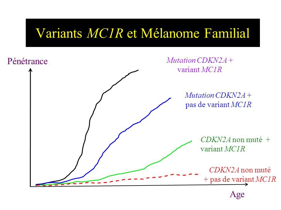 Variants MC1R et Mélanome Familial Ag e 10 20304050607070 8080 9090 20 % 40% 60% 80% Mutation CDKN2A + variant MC1R Mutation CDKN2A + pas de variant M