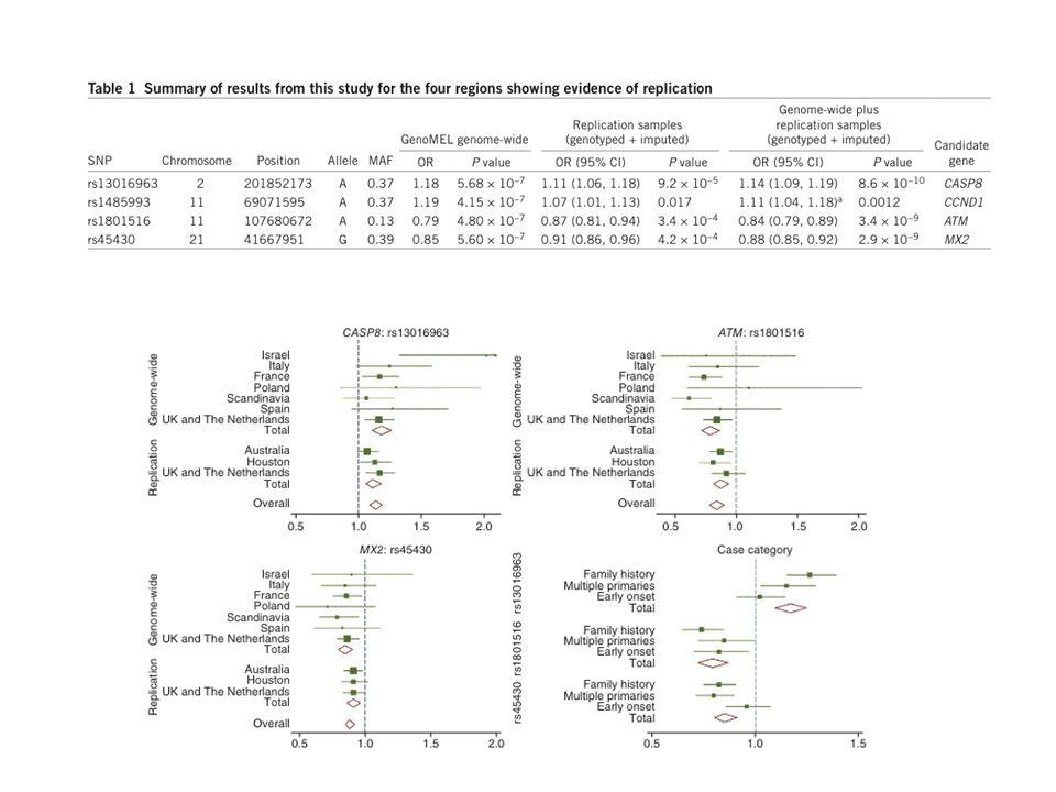 Bilan des gènes impliqués dans la prédisposition multifactorielle au mélanome MC1R SLC45A2 MITF TERT 20q TYR TYRP1 ASIP IRF4 ATM MX2 CASP8 9p21 1q21.3 rs7412746 PLAG2G6 OR de 0.35 à 6