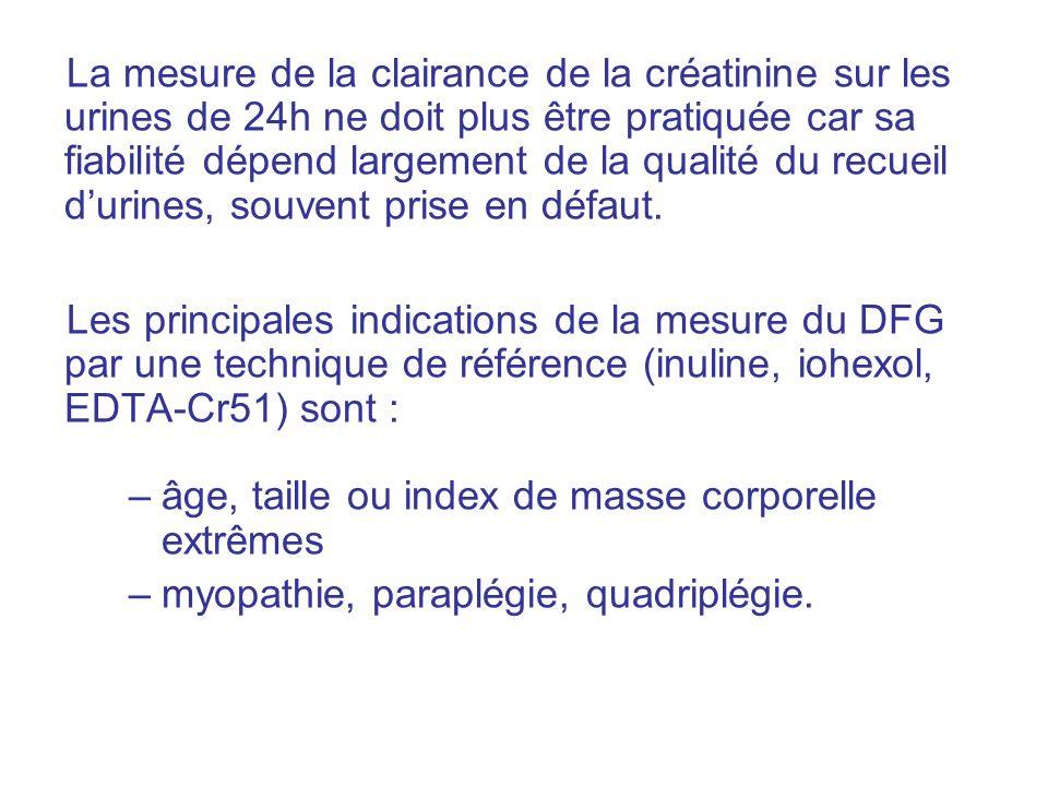 La mesure de la clairance de la créatinine sur les urines de 24h ne doit plus être pratiquée car sa fiabilité dépend largement de la qualité du recueil durines, souvent prise en défaut.
