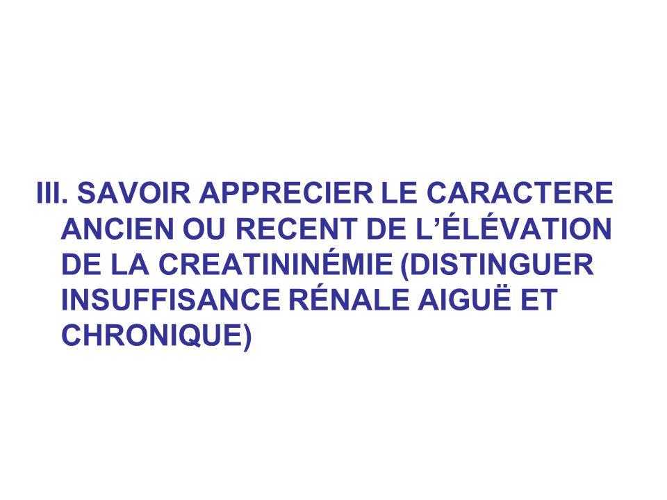 III. SAVOIR APPRECIER LE CARACTERE ANCIEN OU RECENT DE LÉLÉVATION DE LA CREATININÉMIE (DISTINGUER INSUFFISANCE RÉNALE AIGUË ET CHRONIQUE)