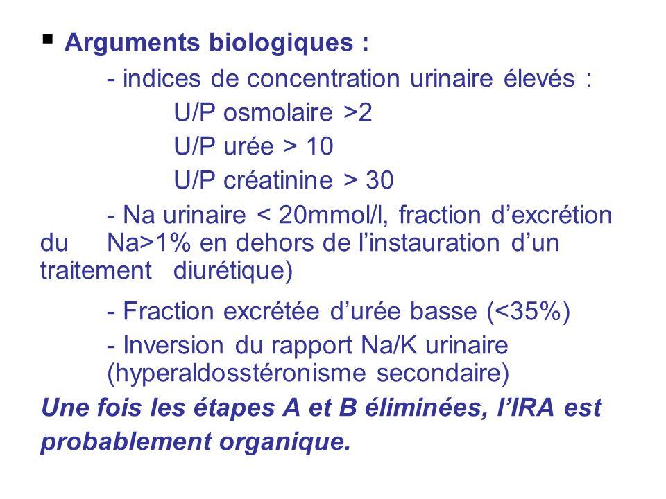 Arguments biologiques : - indices de concentration urinaire élevés : U/P osmolaire >2 U/P urée > 10 U/P créatinine > 30 - Na urinaire 1% en dehors de linstauration dun traitement diurétique) - Fraction excrétée durée basse (<35%) - Inversion du rapport Na/K urinaire (hyperaldosstéronisme secondaire) Une fois les étapes A et B éliminées, lIRA est probablement organique.